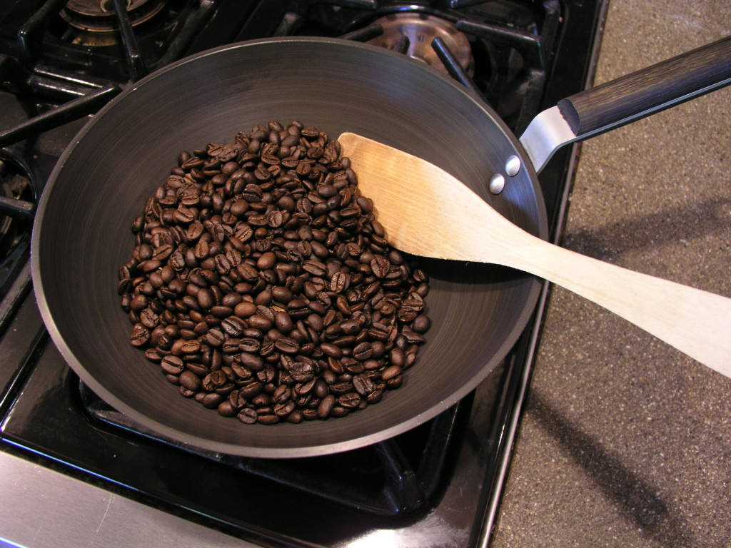 Coffee beans roasting at home