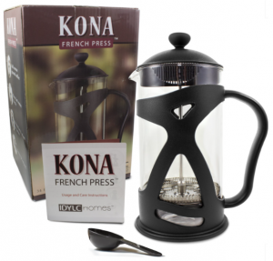 KONA French Press Coffee Tea & Espresso Maker - packaging box and instructions