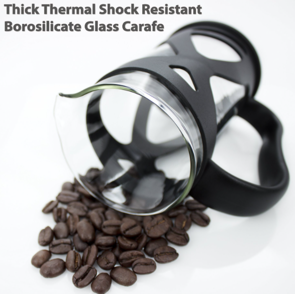 KONA French Press Coffee Tea & Espresso Maker - thermal shock resistant carafe